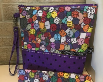 Rainbow dice inspired zipper top project bag with flat bottom and knitting needle cozy - ready to ship