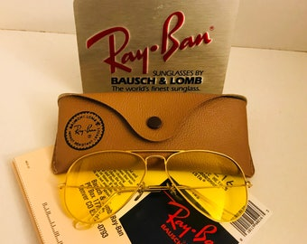 NEW Vintage Aviator Ray Ban yellow kalichrome Sunglasses  usa BL bausch lomb NOS 58mm