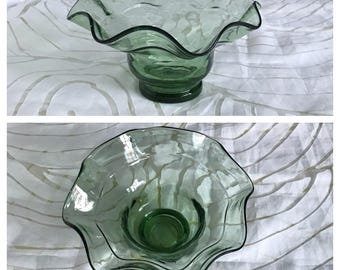SALE! Vintage Hand Made Green Round Glass Bowl, Fluted Rim.