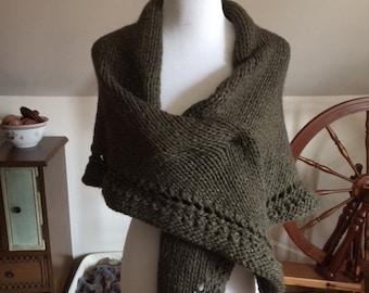 Hand-knit Cozy Wool Shawl