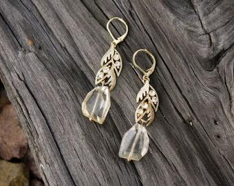 Gold Leaves & Crystals Drop Earrings - Vintage, Rhinestones, Repurposed Jewelry