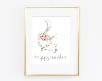 Happy Easter Printable - Watercolor Bunny Print - Easter Print - Spring Home Decor - Easter Decor - Easter Art Print - Spring Wall Art