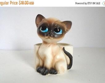 Sale - Vintage 1960's Big Eyes Baby Siamese Kitten / Cat Flower Pot / Planter