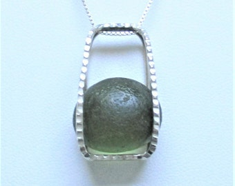 Sea Glass Jewelry - Sterling Caged Green Sea Glass Necklace