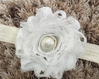 White Chiffon Headband, Shabby Chic Newborn Headband, Vintage Style Flower Baby Headband, Glass Pearl Bead Newborn Photo Prop