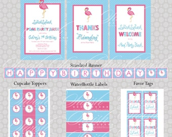 Flamingo Pool Party Birthday Invite and Party Printables - Fla-mingle Party Ideas