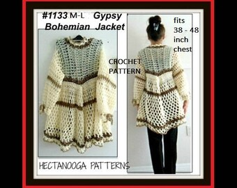 Crochet PATTERN- gypsy bohemian vest or jacket,  women, teens- Chest 38 - 48 inches,  shrug cardigan sweater shawl,#1133M-L