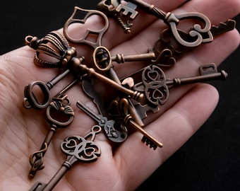 Assorted Key Charms and Pendants in Antiqued Copper