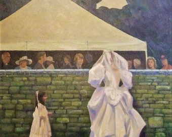 David Gordon BAS RBAS artist 1929-2010 The Wedding original oil painting wedding divorce lawyer groom bride solicitor barrister gift