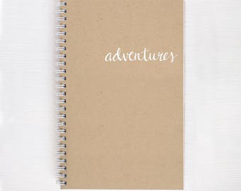 kraft travel notebook with white foil | adventures | lined, dot grid or blank pages | recycled paper