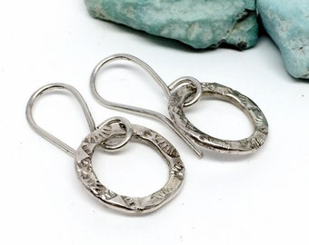 Tiny Hoop Earrings, Silver, Hoop Earrings, Western style jewelry for women, Small Textured Hoops
