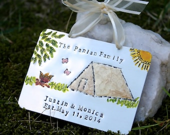 Personalized Ornament/Camping/Outdoor/Family Ornament/Original Artwork/Nickel Silver/Hand Forged and Enameled/Campers/Outdoors/Nature