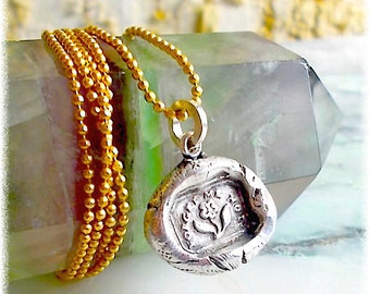 """Sterling Wax Seal Necklace FORGET me NOT  Wax Seal Jewelry . """"True Love""""   SYMBOLIC Petite Pendant . Victorian,  Downton Abbey Style"""
