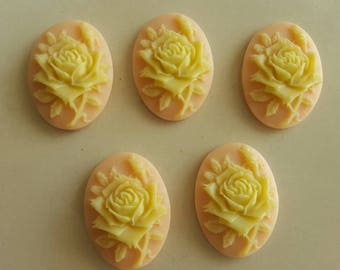 set of 5 3D salmon and yellow flower cameos cabochons