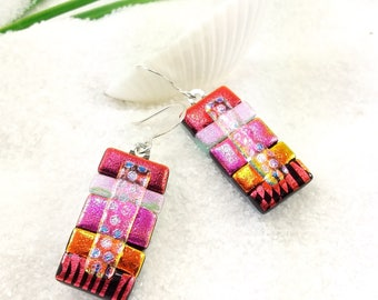 Fused dichroic glass earrings, dichroic earrings, dichroic jewelry, dichroic, statement earrings, Hana Sakura Designs, red jewelry, fusion