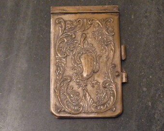 Vintage Brass Aide Memoire 1930s  - Vintage Aide Memoire 1930s, Vintage Carnet de bal 1930s Vintage Brass Note Book Antique Aide Memoire