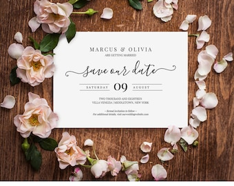 Save Our Date Wedding Template, Save the Date Printable, Editable File, Instant Download, Wedding Date Card, Digital Template #030-201SD