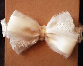 Ivory Chiffon and Lace Bow Garter - Elise