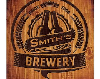 Personalized Brewery Hardboard Wall Sign