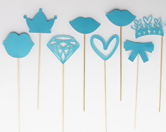 Set of 8 princess birthday Photobooth accessories - diamond-Crown-turquoise blue