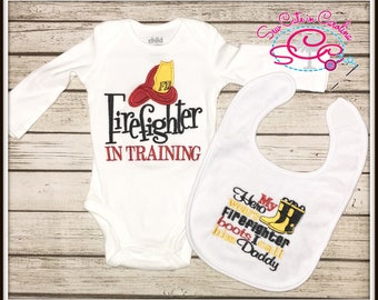 Firefighter Themed Bodysuit and Coordinating Bib