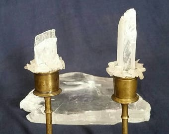 Two Selenite TWIN FLAME Crystals / Vintage Brass Candle Holders / Raw Crystal Candle Home Decor / Twin Flames Love Candles Crystal Selenite