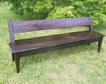 Relaxed Back Reclaimed Wood Farm Bench