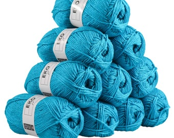 10 x 50g knitted Yarn eko fil, #272 Turquoise