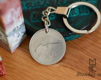 coin keychain  Irish Keychain  Ireland Coin Keyfob 1978 Ireland coin