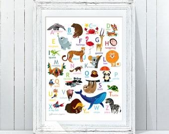 Alphabet Print|Animals ABC/Woodland Alphabet Nursery Wall Art|Alphabet Poster|ABC Wall Art|Kids Room Decor|Animal Nursery Decor|Woodland ABC