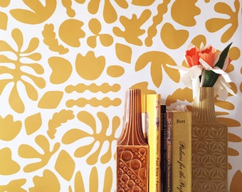 Removable Wallpaper // Muse in mustard // Adheres to walls and shelves and is removable