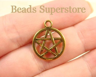 20 mm x 17 mm Antique Gold Two Sided Pentacle Pentagram Charm / Pendant - Nickel Free, Lead Free and Cadmium Free - 8 pcs (CH171)