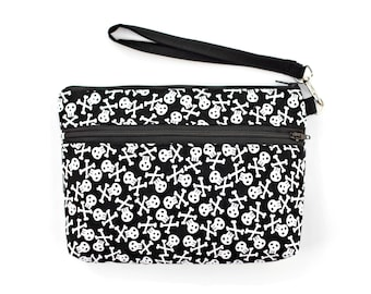 Black and White Skull and Crossbones Wristlet with removable strap
