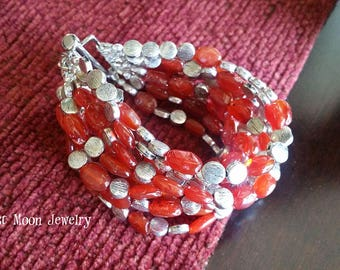 Carnelian and silver multistrand bracelet