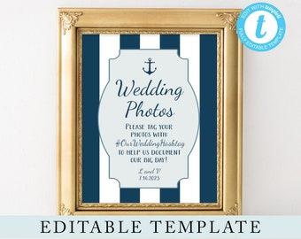 Nautical Wedding Hashtag Sign, Editable Template, Wedding Photos, 8x10 Wedding Instagram Hashtag, Navy Blue and White, Templett Digital File