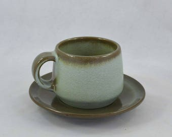 Vintage Frankoma Flat Cup And Saucer, Westwind Blue Or Woodland Moss Color Cup And Saucer