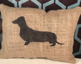 Dachshund Burlap Pillow, Dachshund Pillow, Dog Pillow, Burlap Pillow, Birthday Gift, Gift For Her, Gift For Him, Dog Lover Gifts