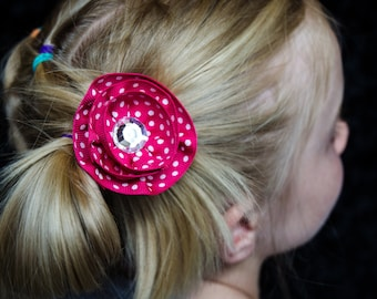 Hair Bow - Layered Hot Pink with Polka Dots Grosgrain Hair Flower