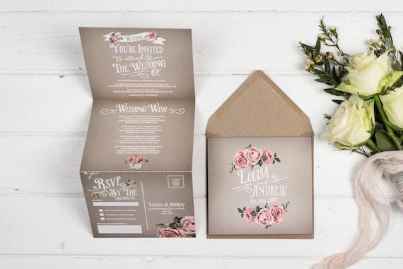 Rustic Wedding Invitation - Double-Folded Grey Rustic Rose (portrait)
