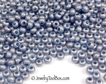Metal Seed Beads, 8/0, Size 8, MATTE ZINC Plated, 2x3mm, Brass Spacers, Made in the USA, Lead Free, Lot Size 18 to 36 grams, #1428