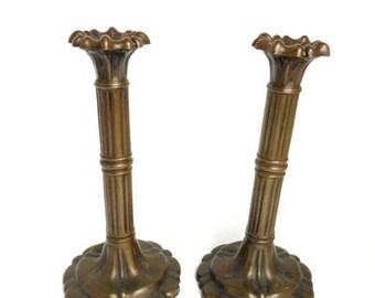 Sale Antique 19th C. Pair Bronze Candlestick Holders Edwardian Era European Home Decor