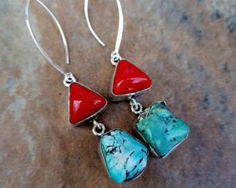 Turquoise and Red Coral gemstone earrings on long Sterling Silver hooks Native Boho jewelry OOAK
