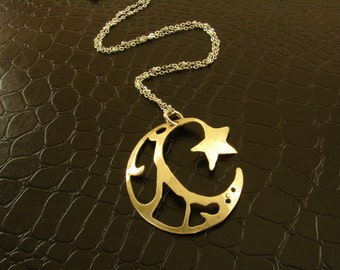Red Brass Filigree Cut Out Moon and Star Pendant Necklace