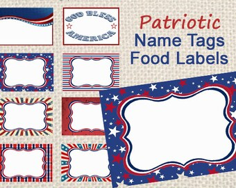 Patriotic Name Tags, Food Labels, 4th of July Decor, Instant Download, Printable Labels, Red, White and Blue, Military name tags, stars