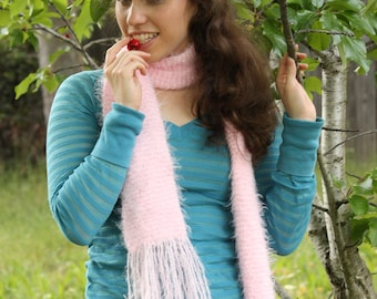 Soft Baby Pink Scarf With Tassles
