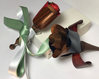Real Wood Groomsmen Boutonniere