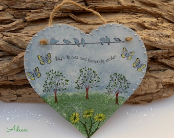 Hanging Heart Decoration, Hugs and Kisses, Gift for Her, Wooden Heart