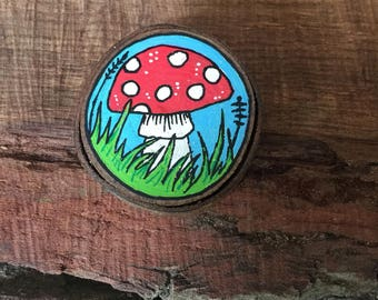 Tiny wood art, Mushroom painting, acrylic paint on wood slice, natural wood, wall hanging, small wall art, small painting