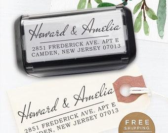 Custom Address Stamp, Return Address Stamp, Wedding address stamp, Calligraphy Stamp, Self inking Stamp, Custom Stamp - Amelia