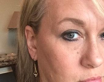 Art Deco,Vintage Earrings,Brass Earring,April Birthstone,Vintage Diamond,Diamond Earrings,Brass Earrings,Diamond,Rhinestone,valleygirldesign
